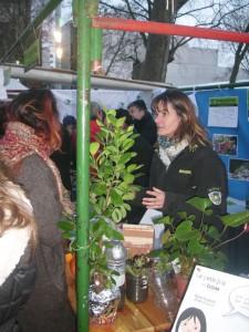 Sophie expliquant ses expériences sur les plantes qu'elle avait amené sur le stand : Boutures à l'étouffée et Reprise de salades, poireaux à partir d'un trognon.