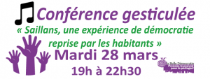 Saillans, une expérience de démocratie reprise par les habitants, mardi 28 mars à 19h à Elancourt