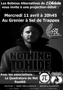 Projection-débat «Nothing to Hide» le 11 avril à 20h45 à Trappes 🗓 🗺