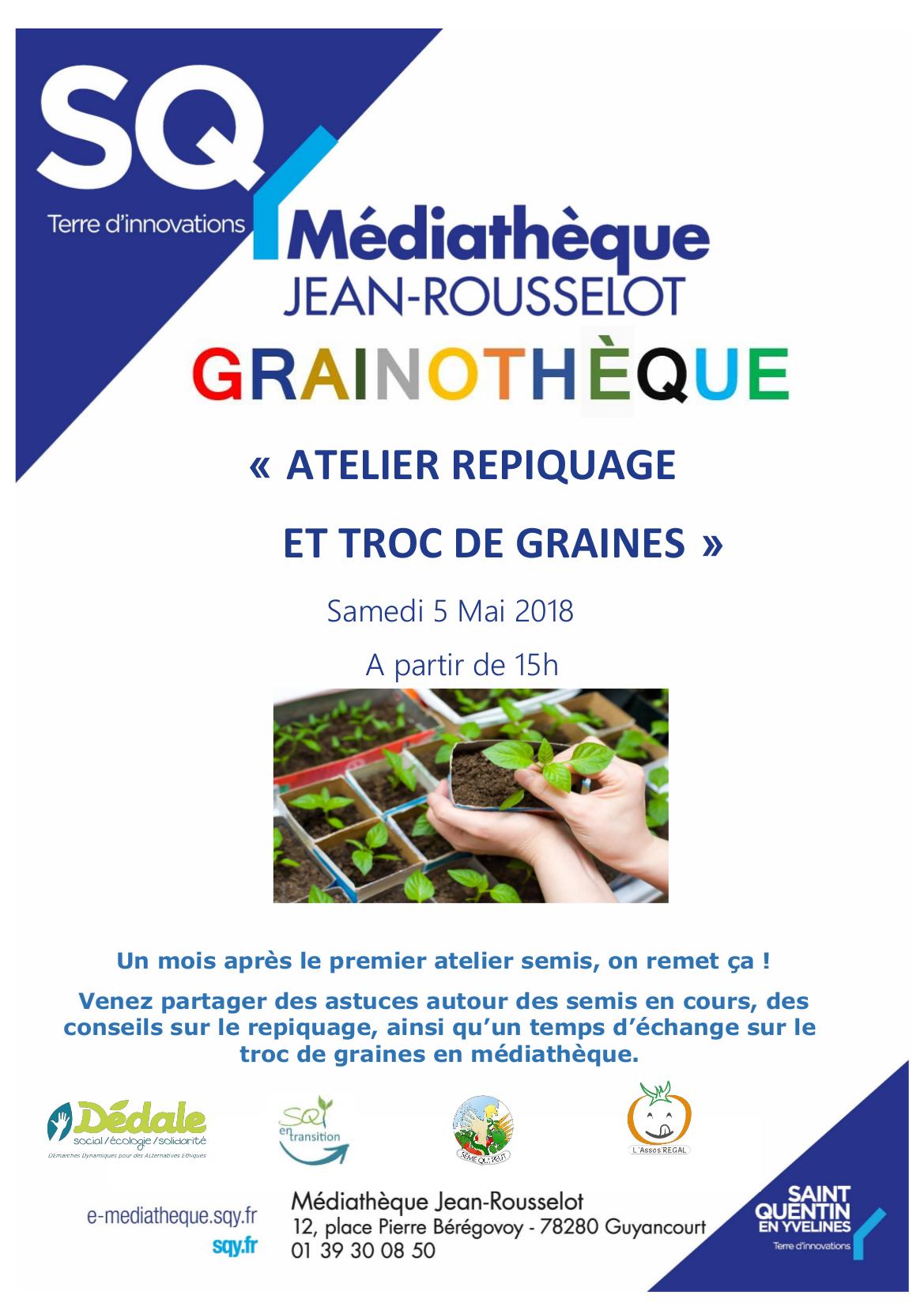Samedi 5 mai à Guyancourt : Atelier de repiquage et de troc de graines 🗓 🗺