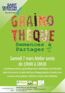 Samedi 7 mars 2020 à la Médiathèque Jean Rousselot à Guyancourt : Atelier de Semis 🗓 🗺