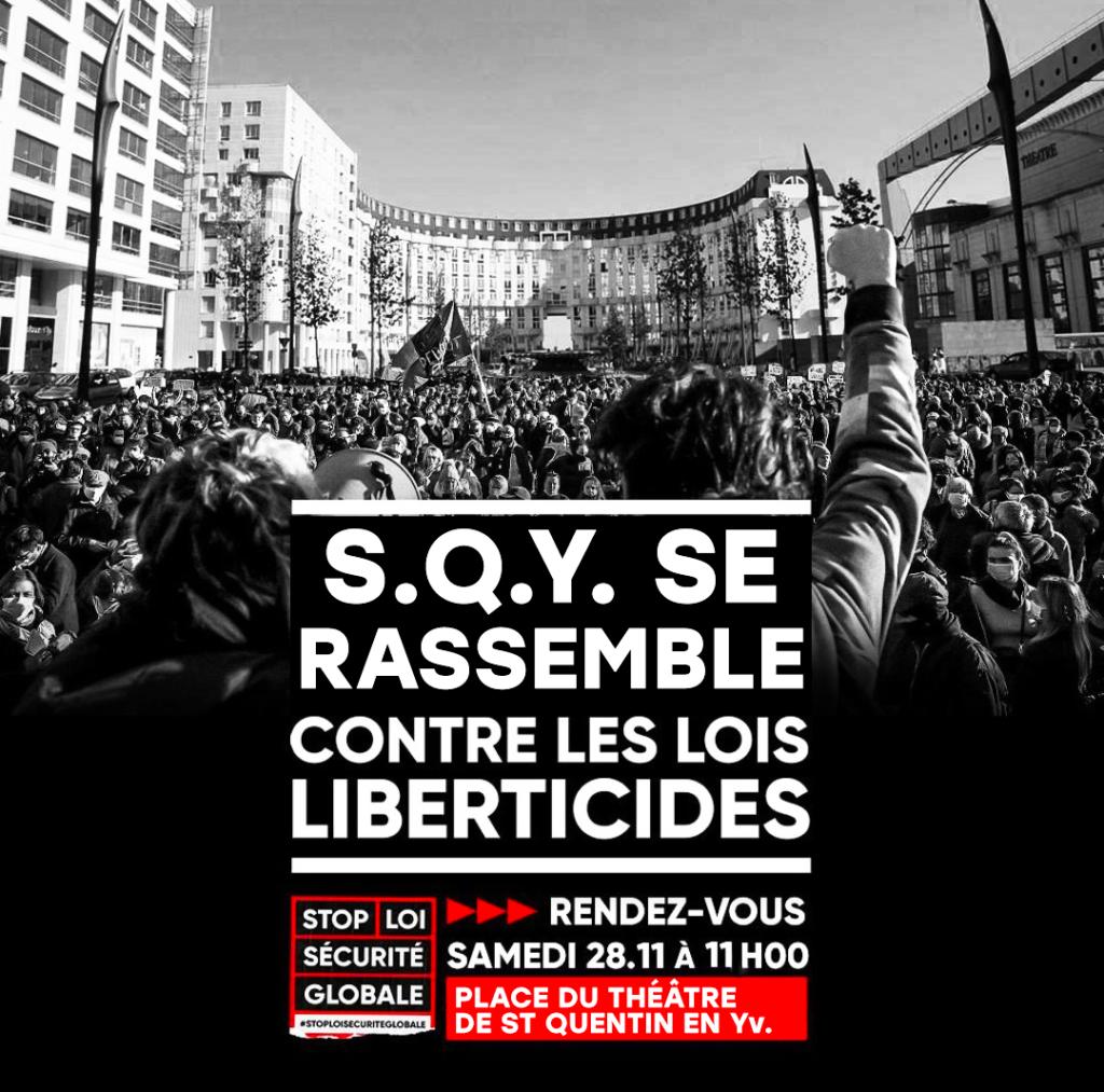 visuel manifestation sqy se rassemble contre les lois liberticides samedi 28 nov 2020 theatre de st quentin