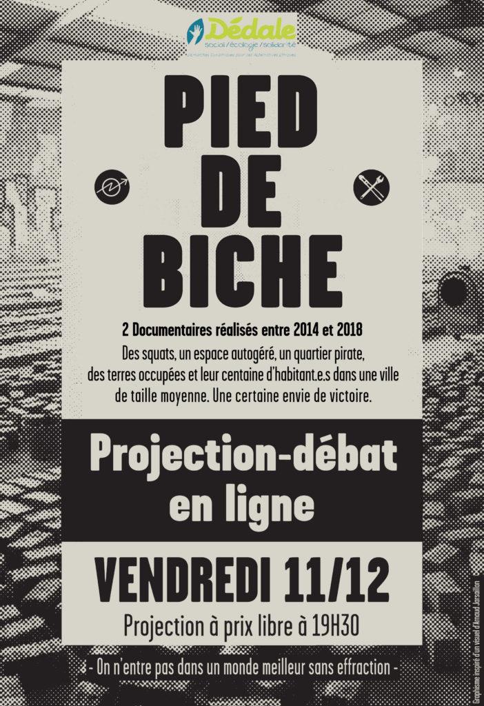 Affiche pied de biche - proj débat dédale vendredi 11 décembre 2020