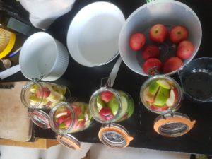 Préparation de conserves de pommes au sirop
